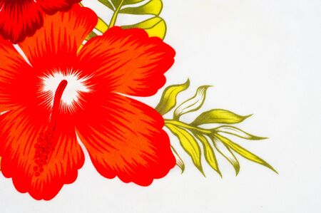 surrounds: Cotton fabric texture background painted red flowers on a white background. a soft white fibrous substance that surrounds the seeds of a tropical and subtropical plant Stock Photo