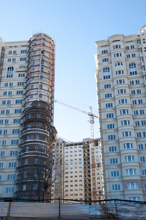 multifamily:  Construction of multi-storey, multi-family home Stock Photo