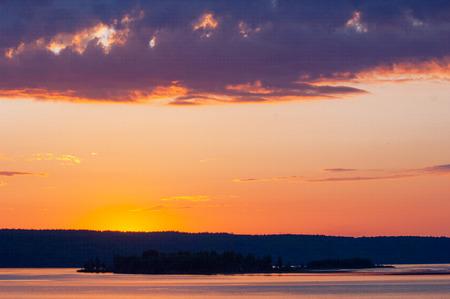 kama: Sunrise on the Kama River. Colorful sunrise on the river. Stock Photo