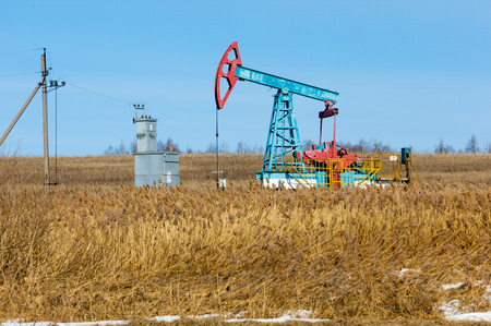 bionomics: ecology, bionomics. Oil pumps. Oil industry equipment. Beam Pumping unit oil and gas Stock Photo