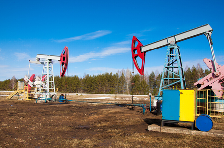 oil and gas industry: Oil pumps. Oil industry equipment. Beam Pumping unit oil and gas Stock Photo