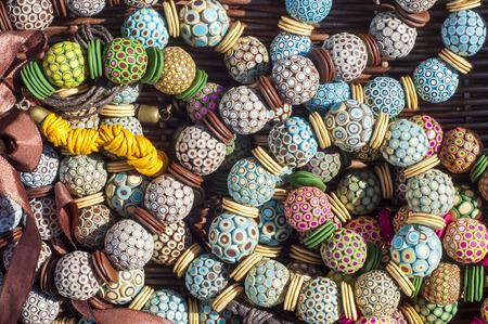 bijouterie, imitation jewelry. jewelry or trinkets. Women's jewelry made of precious metals and stones Banco de Imagens