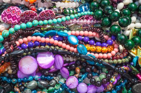 bijouterie, imitation jewelry. jewelry or trinkets. Womens jewelry made of precious metals and stones Stock Photo