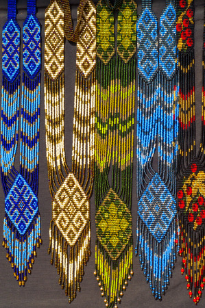 bead embroidery: Indian, Injun, red man, redskin, Red Indian, pampean. Indian beadwork. Visual arts by indigenous peoples of the Americas