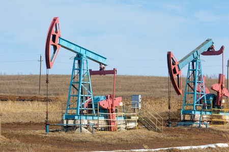 oil and gas industry: ecology, bionomics. Oil pumps. Oil industry equipment. Beam Pumping unit oil and gas Stock Photo