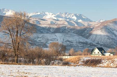 winter evening: Kazakhstan. Tien Shan. Beautiful landscape with mountain views. Winter evening.
