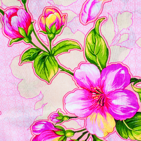 fabric cotton: Texture, background, fabric cotton pink flowers on a pink background Stock Photo