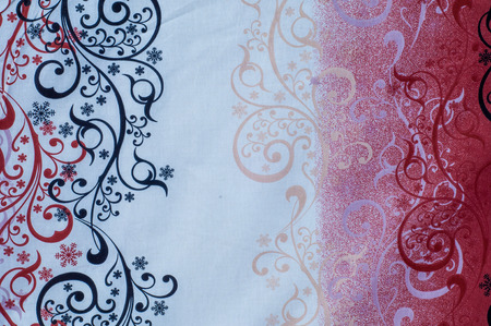 cotton fabric: Texture, background, fabric cotton red white black, frosty drawing