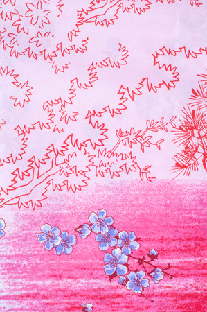 cotton fabric: Texture, background. Cotton fabric, linen stylized sakura