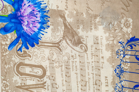 topic: Texture, background. Cotton fabric, linen patterned abstract on the topic music Stock Photo
