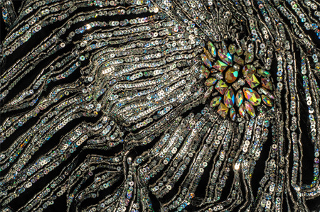 sequined: Fabric texture sequined.  jeweled, spangly, beady