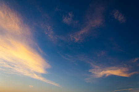sky clouds texture, background. Dramatic cotton candy sky cloud texture background Stock Photo