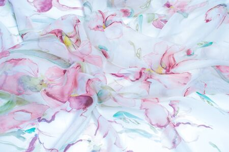 cadet blue: Fabric silk texture, painted with flowers Foto de archivo