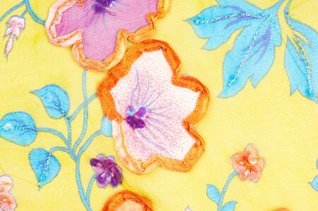 inlaid: Fabric texture yellow flowers inlaid. Woven fabric.  Photography Studio Stock Photo