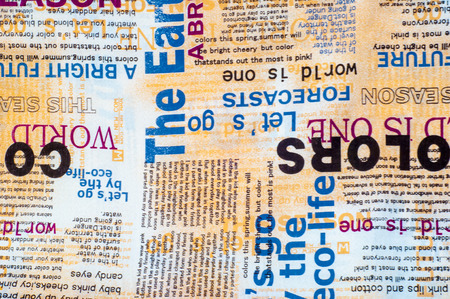 newspaper texture: Texture, background. Fabric cotton bed linen. collage of inscriptions, theatrical dresser advertisement. pieces of newspaper. text labels. Stock Photo