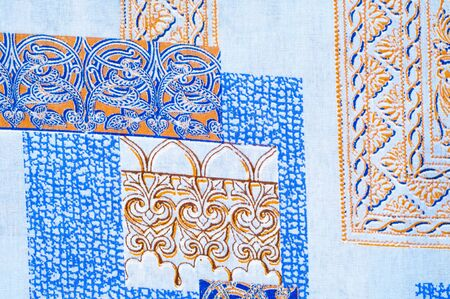 fabric cotton: texture, background, fabric cotton pattern frames artistic, abstract drawing Stock Photo