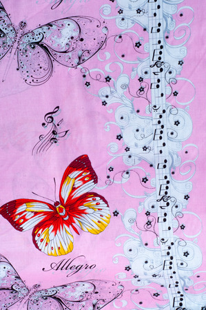 fabric cotton: texture, background, fabric cotton pale pink background, notes with butterfly