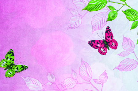 bedclothes: Texture, background. Cotton fabric flowers pink butterfly on a light green background. Bedclothes