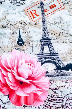 nice france: Texture, background. Fabric cotton bed linen. Eifel. With a picture of Paris, rose flower, city maps Paris Stock Photo
