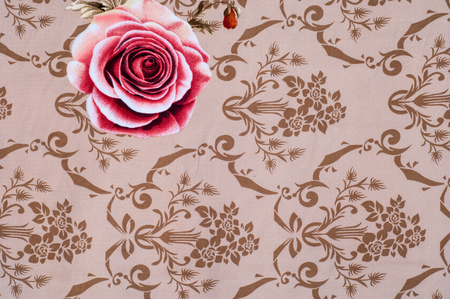 bed linen: Texture, background. Fabric cotton bed linen. brown with flower roses