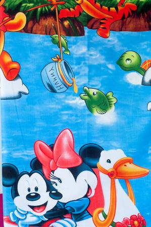tela algodon: Textura, fondo. textiles. ropa de algod�n. dibujo infantil Foto de archivo