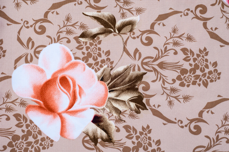 fabric cotton: Texture, background. Fabric cotton bed linen. brown with flower roses