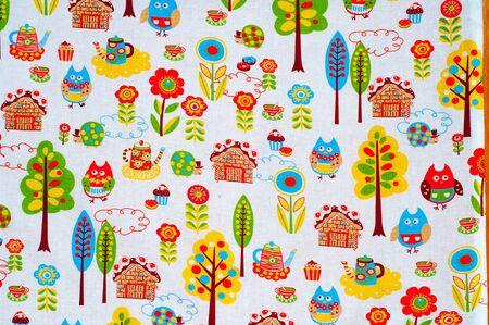 tela algodon: Textura, fondo. textiles. ropa de algod�n. dibujos de los ni�os en la tela