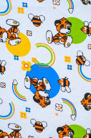 tela algodon: Texture, background. textiles. cotton cloth. childrens drawings on fabric