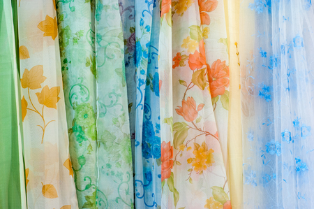 organza: Colorful Translucent Curtain Organza Gauze Curtains Fabric Drapes Home Textile Stock Photo