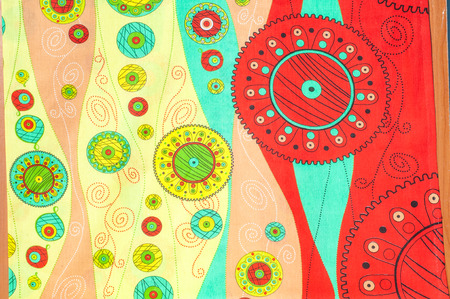 bedding: Texture, background. textiles. cotton cloth. bedding, abstract drawing geometric shapes. Broken lines, circles balls. Divorces blue yellow red