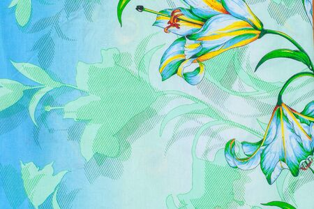 bed linen: Texture, background. textiles. cotton cloth. bed linen, lily flower Stock Photo