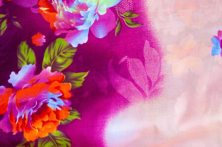 abstract wallpaper: Texture, background. textiles. cotton cloth. linen, bright rose flowers, drawing on fabric