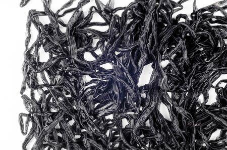 ruban noir: Texture, fond. ruban noir. Sur un fond blanc Banque d'images