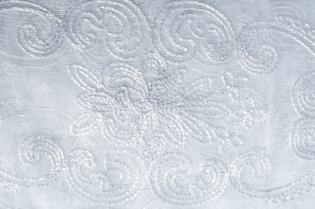 organza: Tulle, organza, white, with a pattern of flowers