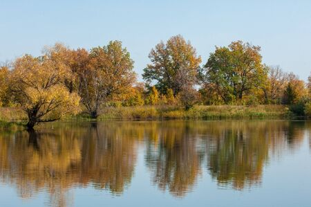 tatarstan: Fall landscape. Beautiful autumn forest in the national park  Sokolki Tatarstan Russia