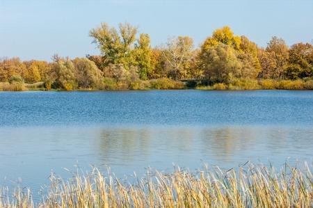 lake district: Landscape. Lake autumn mixed forest. Autumn trees behind lake. Water Lake District Sokolki Tatarstan Russia