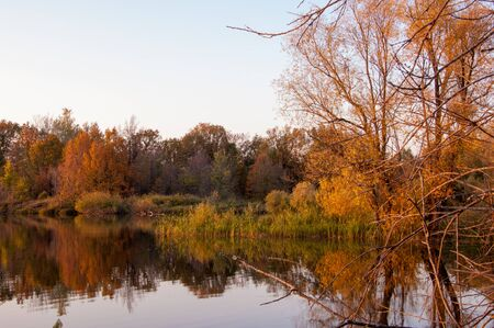 fall trees: Landscape. Sunset over the lake, fall trees reflected in water.  Water Lake District Sokolki Tatarstan Russia