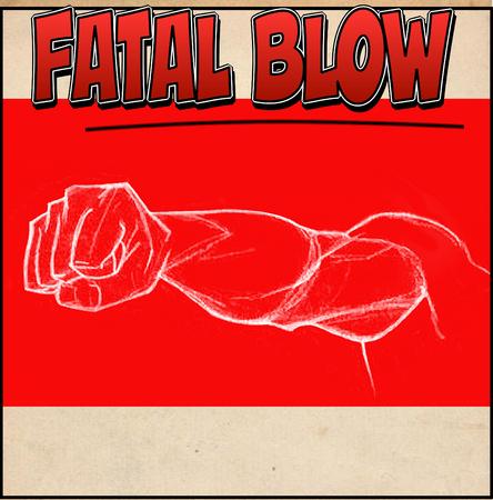 wallop: compressed fist to strike. comic strip, cartoon
