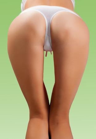 nudo integrale: Ass di giovane donna woman.Sexy bottino morbido, mutandine. curve sexy ragazza culo, senza cellulite