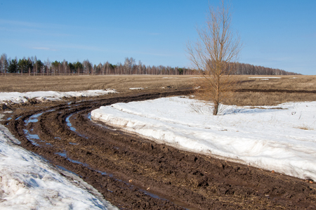 terrain: Spring washed out roads. off road. mud on the road Stock Photo