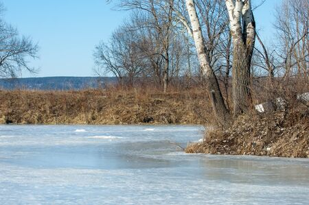 drifting ice: Frozen lake in the spring. spring ice Stock Photo