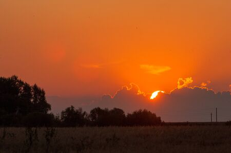 sunrises: Sunrises Sunsets. Sunset in the meadow, the setting sun paint dry grass
