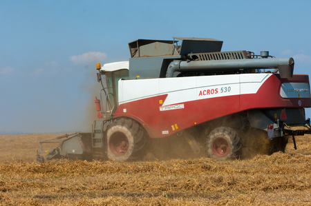 non cultivated land: 07,08,2014 Russian Tatarstan. peas combine. Harvester combine pouring peas in the tractor trailer on sunny summer day.