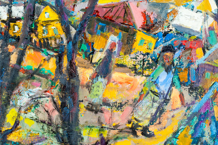 pictorial art: Art painting scenes of rural life, written with oil paint Stock Photo