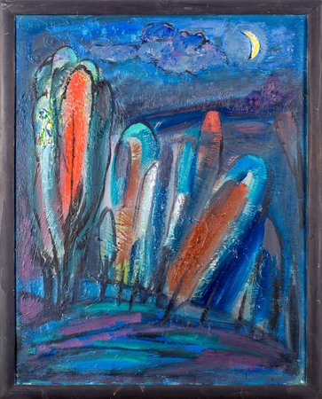 honored: Ethnography, M.Sh. Khaziev. Honored Artist of Tatarstan. The picture painted in oils. Night, trees in the moonlight