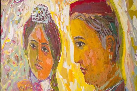 honored: Ethnography, M.Sh. Khaziev. Honored Artist of Tatarstan. The picture painted in oils. Young students, the picture painted on Tatar themes Editorial