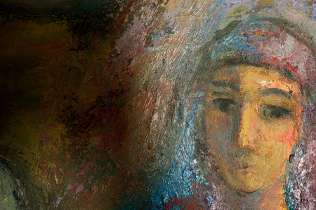 honored: Ethnography, M.Sh. Khaziev. Honored Artist of Tatarstan. The picture painted in oils. Night, Most of the Tatar family, having a baby picture