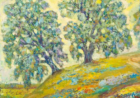 ethnography: Ethnography, M.Sh. Khaziev. Honored Artist of Tatarstan. The picture painted in oils. Summer trees on a hill Editorial