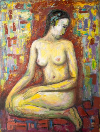 bare breast: Ethnography, M.Sh. Khaziev. Honored Artist of Tatarstan. The picture painted in oils. Night, nude woman posing for the artist, the painting depicts a nude woman