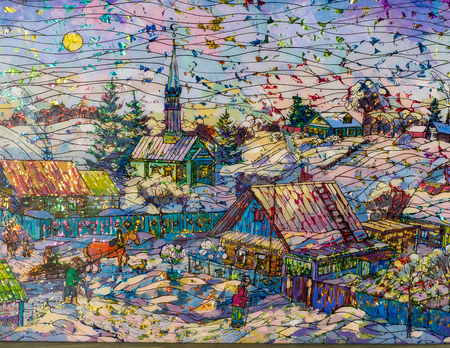country house style: Ethnography, painting under glass, foil Brilliant. Scene from village life. Russia Tatarstan. Sleigh with horse, mosque, houses, rural way of life Editorial